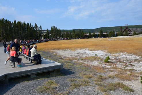 Old Faithful viewing area at the Upper Geyser Basin in Yellowstone National Park, Wyoming