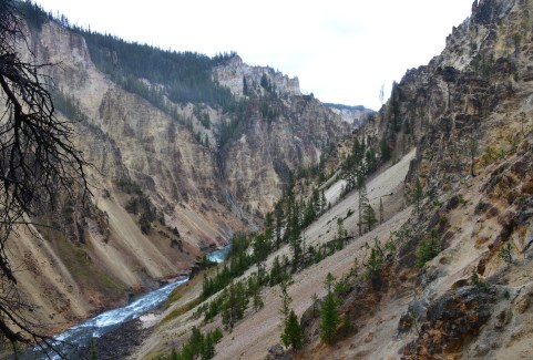 Grand Canyon from Uncle Tom's Trail at Grand Canyon of the Yellowstone in Yellowstone National Park, Wyoming