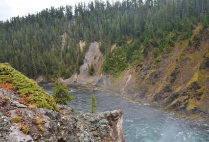 Yellowstone River at Brink of Upper Falls at Grand Canyon of the Yellowstone in Yellowstone National Park, Wyoming