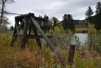 Cable works for Menor's Ferry at Menor's Ferry Historic District in Grand Teton National Park, Wyoming