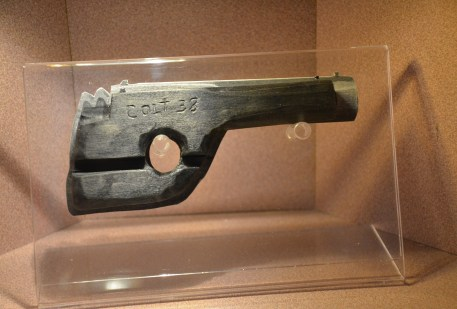 The wooden gun at the John Dillinger Museum in Crown Point, Indiana