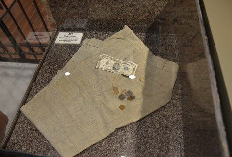 The pants Dillinger was wearing when he was killed and the change found in his pockets at the John Dillinger Museum in Crown Point, Indiana