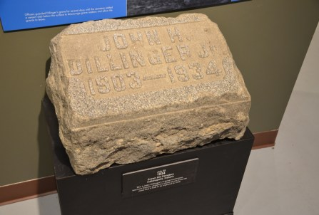 Dillinger's original tombstone at the John Dillinger Museum in Crown Point, Indiana