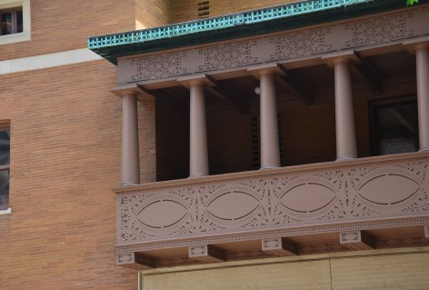 Balcony of the Charnley-Persky House in Chicago, Illinois