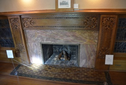 Living room fireplace of the Charnley-Persky House in Chicago, Illinois