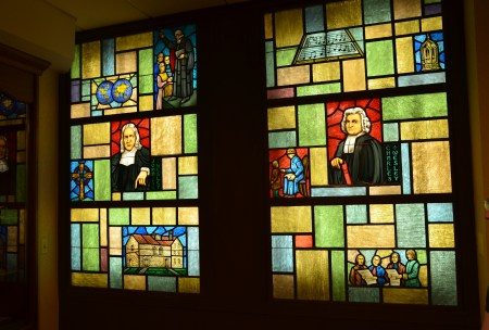 Stained glass window of the Wesley brothers at the Chicago Temple in Chicago, Illinois