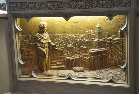 Christ weeping over Chicago in the Chapel in the Sky at the Chicago Temple in Chicago, Illinois