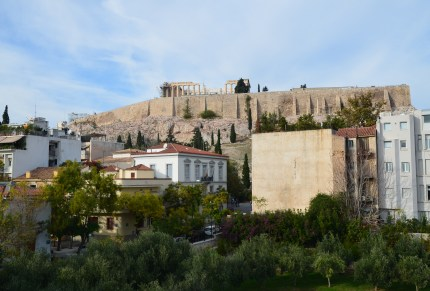 View from the rooftop at the Acropolis Museum in Athens, Greece
