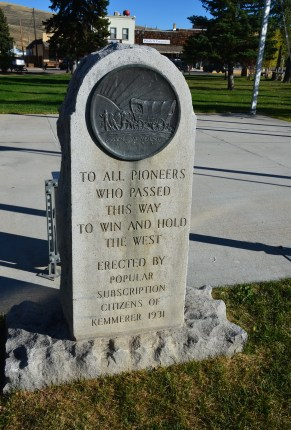 Monument dedicated to pioneers in Kemmerer, Wyoming