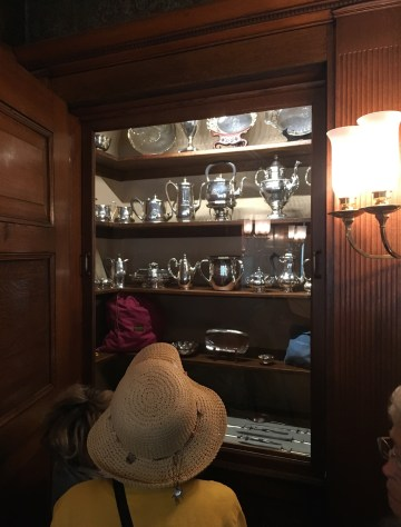 Dining room cabinet with silver at the John J. Glessner House in Chicago, Illinois