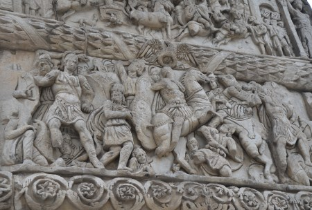 Galerius attacks Shah Narses on the Arch of Galerius in Thessaloniki, Greece