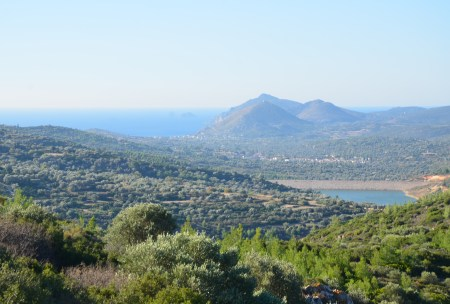 The view from Panagia Sykelia in Chios, Greece