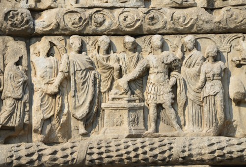 The imperial family at the sacrifice of thanksgiving on the Arch of Galerius in Thessaloniki, Greece