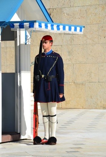 Evzone at the Tomb of the Unknown Soldier in Athens, Greece