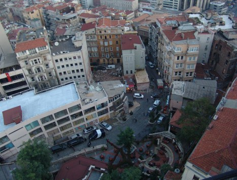 Looking down from the top of the Galata Tower in Beyoğlu, Istanbul, Turkey