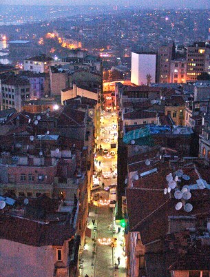 Looking down after sunset from the top of the Galata Tower in Beyoğlu, Istanbul, Turkey