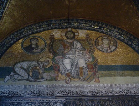 Mosaic of the Imperial Gate at Hagia Sophia in Istanbul, Turkey