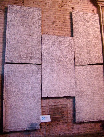 Stone tablets with Greek inscriptions at Hagia Sophia in Istanbul, Turkey