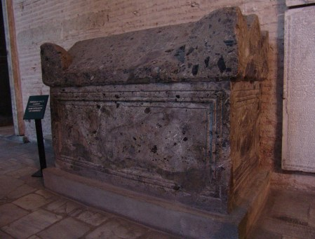 A sarcophagus used by a Byzantine empress at Hagia Sophia in Istanbul, Turkey