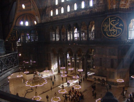 View from the upper gallery at Hagia Sophia in Istanbul, Turkey