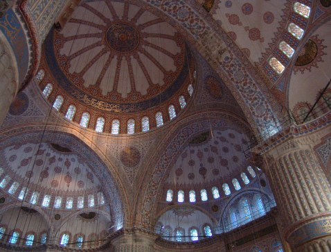 Domes of the Sultan Ahmet Camii (Blue Mosque) in Fatih, Istanbul, Turkey