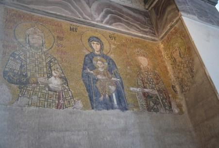 Komnenos mosaic at Hagia Sophia in Istanbul, Turkey
