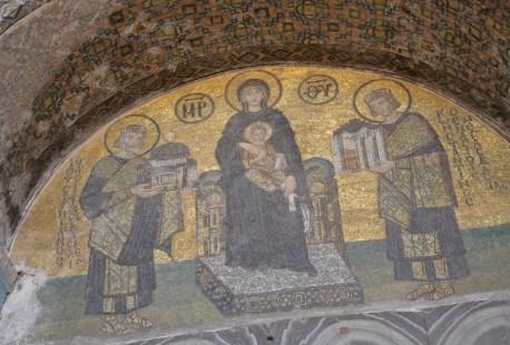 Southern vestibule door mosaic at Hagia Sophia in Istanbul, Turkey