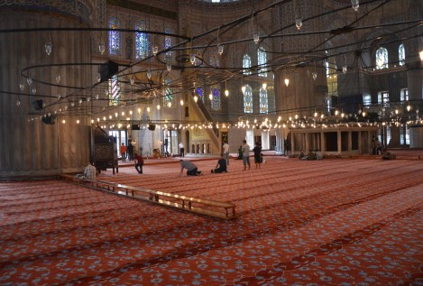 Prayer hall of the Sultan Ahmet Camii (Blue Mosque) in Fatih, Istanbul, Turkey