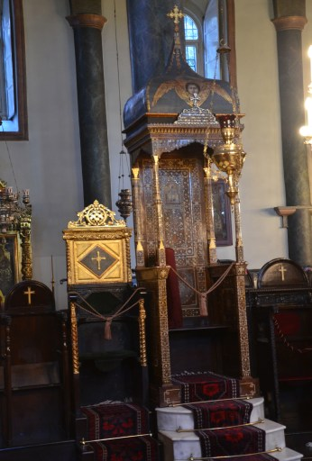 Patriarchal throne at the Church of St. George at the Ecumenical Patriarchate of Constantinople in Fener, Istanbul, Turkey