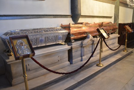 Relics of St. Euphemia, St. Theophano, and St. Solomoni at the Church of St. George at the Ecumenical Patriarchate of Constantinople in Fener, Istanbul, Turkey