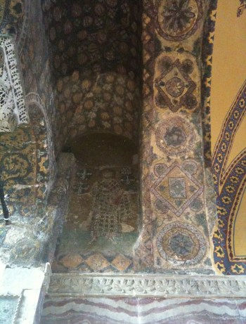 Mosaic of Emperor Alexander at Hagia Sophia in Istanbul, Turkey