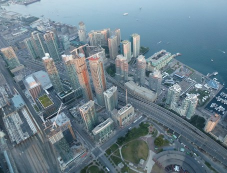 View from the SkyPod at the CN Tower in Toronto, Ontario, Canada