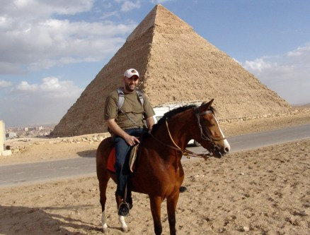 On horseback at the Pyramids of Giza in Egypt