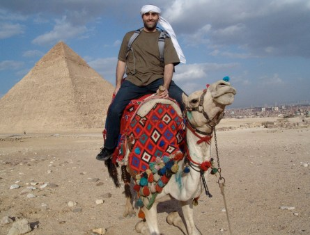 Me on a camel at the Pyramids of Giza in Egypt