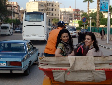 Dana and Maria on a carriage in Giza, Egypt