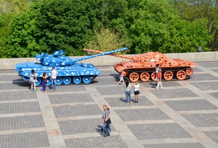 Tanks repainted for peace at the National Museum of the History of Ukraine in the Second World War Memorial Complex in Kiev, Ukraine