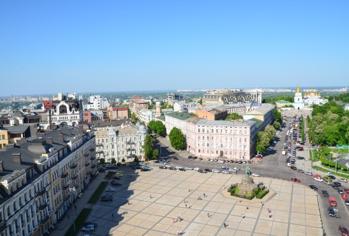 View of Sofiyska Square from the bell tower at St. Sophia Cathedral complex in Kiev, Ukraine