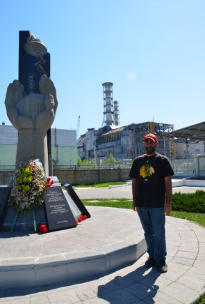 Me at Reactor #4 at Chernobyl Nuclear Power Plant in Chernobyl Exclusion Zone, Ukraine