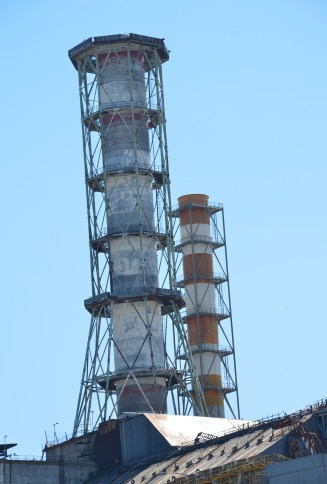 Chimney of Reactors #3 and #4 at Chernobyl Nuclear Power Plant in Chernobyl Exclusion Zone, Ukraine