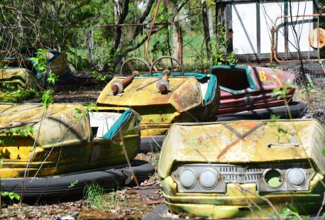 Bumper cars at the amusement park in Pripyat, Chernobyl Exclusion Zone, Ukraine