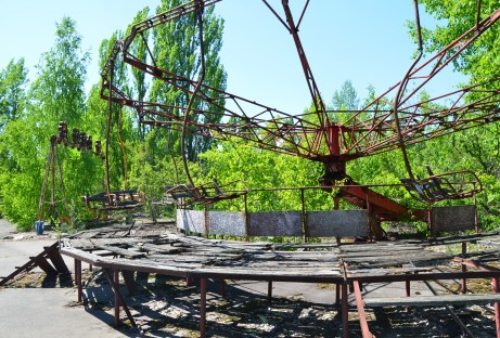 Chair swing at the amusement park in Pripyat, Chernobyl Exclusion Zone, Ukraine