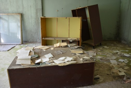 Teachers' room at Middle School #5 in Pripyat, Chernobyl Exclusion Zone, Ukraine