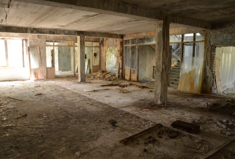 Hallway at Middle School #5 in Pripyat, Chernobyl Exclusion Zone, Ukraine