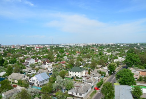 View from the bell tower at Trinity Monastery in Chernihiv, Ukraine