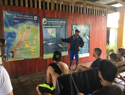 A guide lecturing about the whales in Juanchaco, Valle del Cauca, Colombia