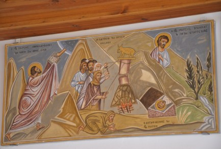 Icon of Moses receiving the Ten Commandments at St. Catherine's Monastery in Sinai, Egypt