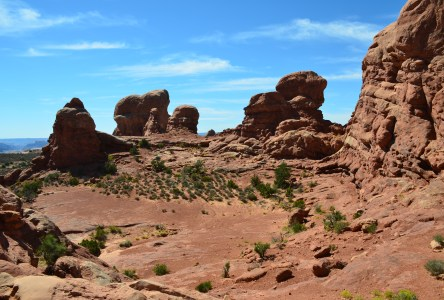 View from Turret Arch on the Windows Trail at the Windows Section at Arches National Park in Utah