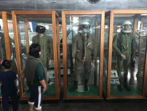 Anti-G suits at Museo Aéreo Fénix in Palmira, Valle del Cauca, Colombia