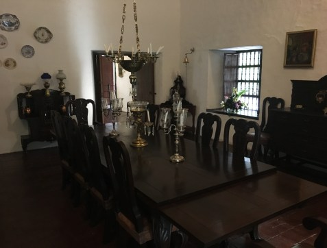 Dining room at Hacienda Piedechinche at Museo de la Caña in Valle del Cauca, Colombia