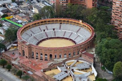 The view of Plaza de Toros Santamaría from Torre Colpatria in Bogotá, Colombia